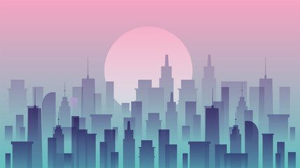 Cityscape vector illustration. Silhouettes of urban buildings.
