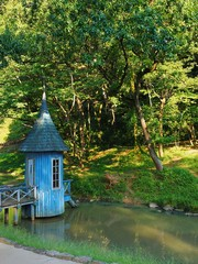 blue cabin scenary of akebono children's forest park Hanno city Saitama,Japan