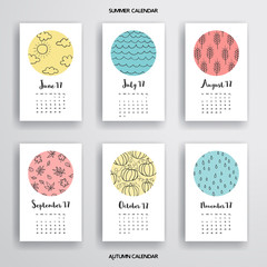 Vector set of calendars. Simple patterns in colored circles. Realistic shadows.