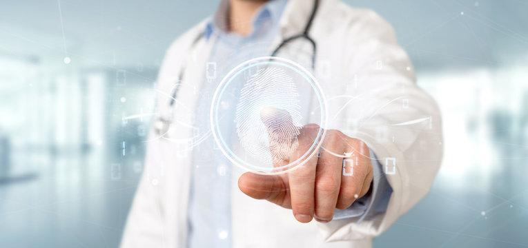 Doctor holding a Digital fingerprint identification and binary code 3d rendering