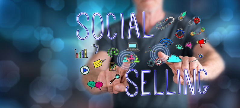 Man touching a social selling concept