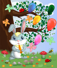 Bunny with a carrot in a forest glade. Spring, love, postcard