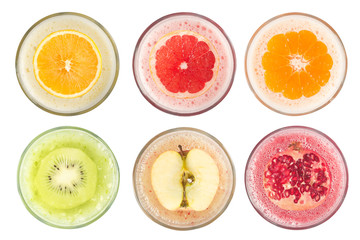 Top view of fruit juices