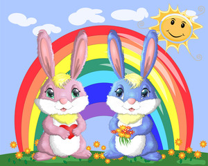 A pair of bunnies, a boy and a girl in a clearing near the rainbow. Spring, love, postcard