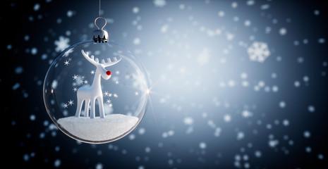 Glaskugel - Weihnachtskugel mit Rentier