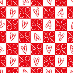 Stylish red and white checkered hearts and hugs and kisses seamless vector pattern. Great for Valentines day, weddings, anniversaries, scrapbooking, giftwrap, stationery.
