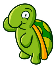 Cute and funny turtle standing and waving it's hand - vector.