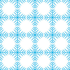 Vector illustration. Seamless pattern of Snowflakes. Blue Snowflakes on white background.