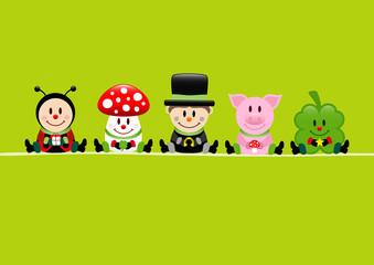 Ladybeetle, Fly Agaric, Chimney Sweeper, Pig & Cloverleaf Green