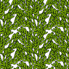Abstract art vector seamless pattern hand drawn green splinters on a white background for ceramic tiles, textile, wrapping, furnishings, upholstery, cover page, banner, web site, wall decor.