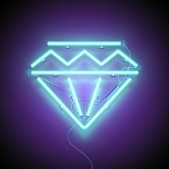 Neon sign. Retro neon Diamond signboard on purple background. Design element. Ready for your design, greeting card. Vector illustration.