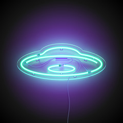 Fototapeta Neon sign UFO. Retro neon Flying saucer signboard on dark background. Ready for your design, icon, banner. Vector illustration.
