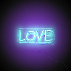 Neon sign. Retro neon Love signboard on purple background. Design element for Happy Valentine's Day. Ready for your design, greeting card. Vector illustration.