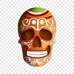 Mexican colorful skull icon. Cartoon of mexican colorful skull vector icon for web design