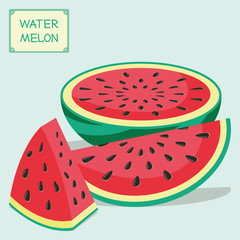 Different pieces of a watermelon. The fruit cut into pieces in form of a triangle, a wedge and a half of a watermelon. Vector illustration.