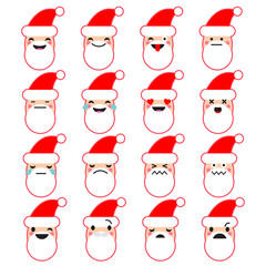 Collection of emotions of Santa Claus. Cute cartoon. Vector style smile icons. Can be used for wallpaper, textile, invitation card, wrapping, web page background.