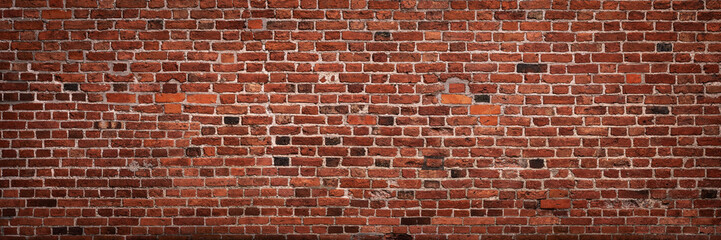Zelfklevend Fotobehang Baksteen muur Panoramic view of empty, old, red brick wall background with copy space