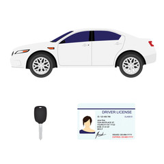 Driver license, key and white sport car