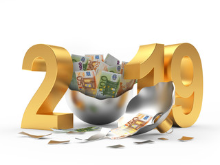 Golden 2019 New Year and silver broken Christmas ball with euro bills inside on white background. 3D illustration
