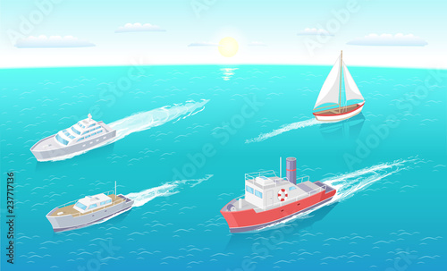 Water transport ferry and yacht different types of vessels set
