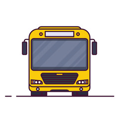Front view of big yellow city bus. Line style vector illustration. Vehicle and transport banner. Modern public transportation vehicle. Front view bus.