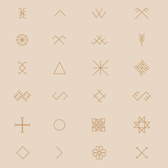 Variations of the ancient Latvian sign, symbols vector set