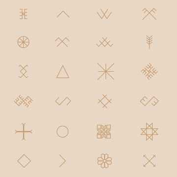 Variations of the ancient Latvian sign, symbols vector set