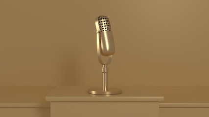 gold reflection microphone set on golden scene 3d rendering technology concept