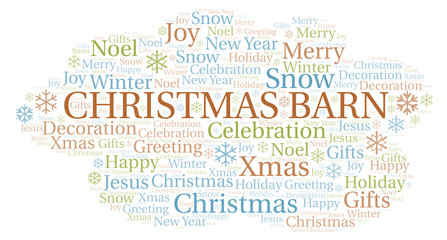 Christmas Barn word cloud.
