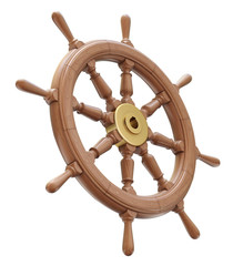Wooden ship steering wheel isolated on white background