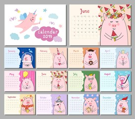 Monthly calendar with cute pig characters. Symbol of Chinese New Year 2019