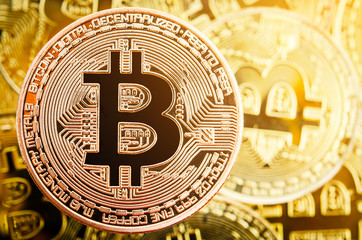 Bitcoin copper coin. Cryptocurrency concept.