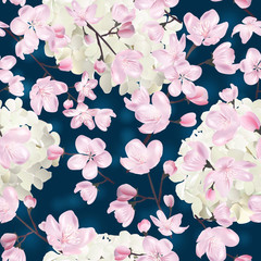 Vector botanical seamless pattern with Blossoming sakura and hydrangea. Modern floral pattern for textile, wallpaper, print, gift wrap, greeting or wedding background.