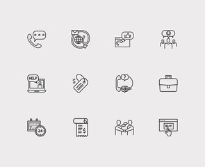Customer service icons set. 24/7 and customer service icons with retail, call and business. Set of review for web app logo UI design.