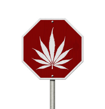 Red and white DUI cannabis stop sign