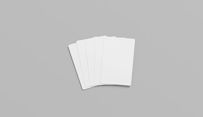 Blank white five playing cards face mock up, isolated