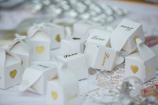 Boxes of confetti at wedding