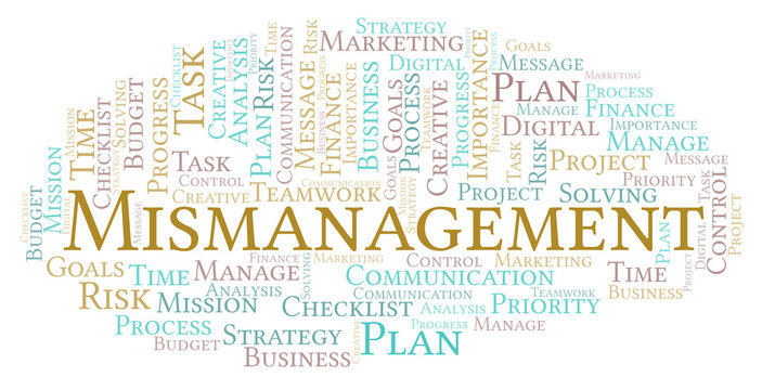 Mismanagement word cloud, made with text only.