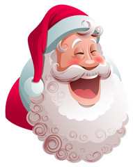 Santa Claus is smiling widely. Happy merry christmas character
