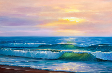 Sunset on the sea, painting by oil on canvas.