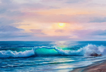 Sunset over sea, painting by oil on canvas.