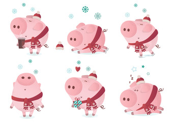 Cute piggy character in a winter scarf.