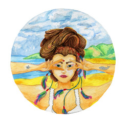 Teeny-bopper on a sunny beach. Female full face. Bright colors. Watercolor illustration.
