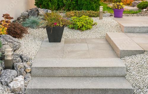 Vorgarten Steingarten Außentreppe Aus Granit   Front Garden Stone Garden  Granite External Staircase