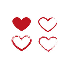 Heart symbol icon. Simple element illustration. Heart concept symbol design. Can be used for web and mobile UI and UX. Set of filled and outlined hearts.