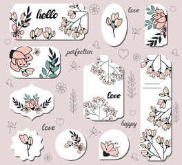 Set of labels with doodle flowers. Collection with different floral paper labels for announcements. Round, square, rectangular, shapes. Template for design, greeting cards, invitations and decor.