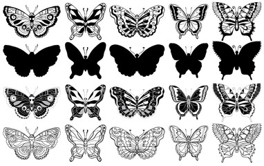 Set of butterflies. Silhouette, sketch and graphic icons