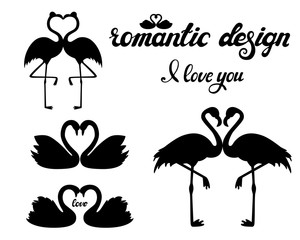 Vector set of flamingos and swans silhouettes isolated on white background. Birds with romantic hand drawn lettering. Love and wedding. Black and white. For decoration, poster, card, invitation.