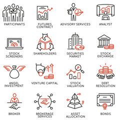 Obraz Vector set of linear icons related to trade service, investment strategy and management. Mono line pictograms and infographics design elements - part 2 - fototapety do salonu