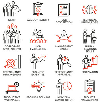 Vector set of linear icons related to business process, relationship and human resource management. Mono line pictograms and infographics design elements - part 2